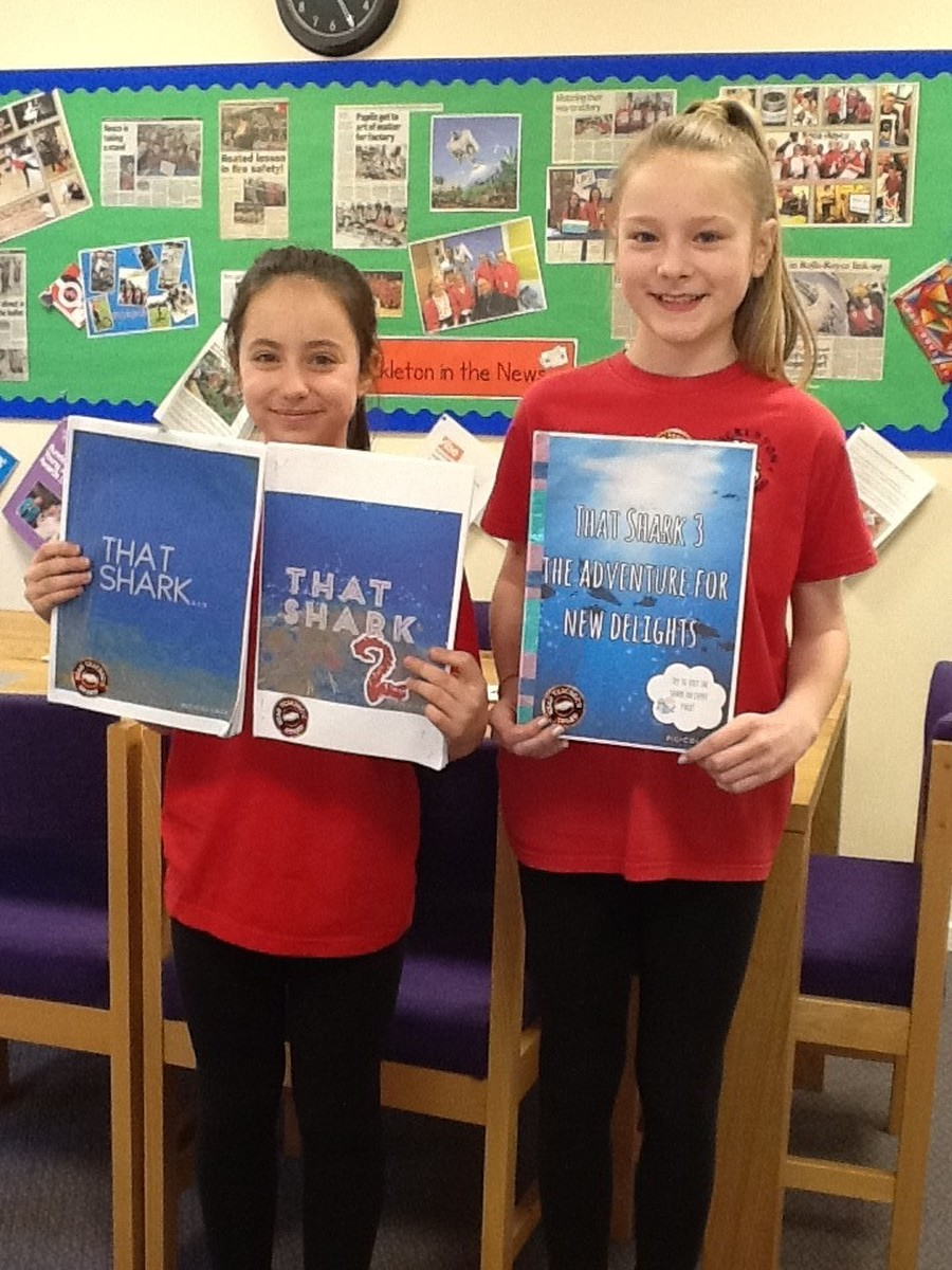 Jenna and Emily have enjoyed writing a trilogy at home.  It is called 'That shark' and is about a shark who is bulied for being a vegetarian.  Well done girls!