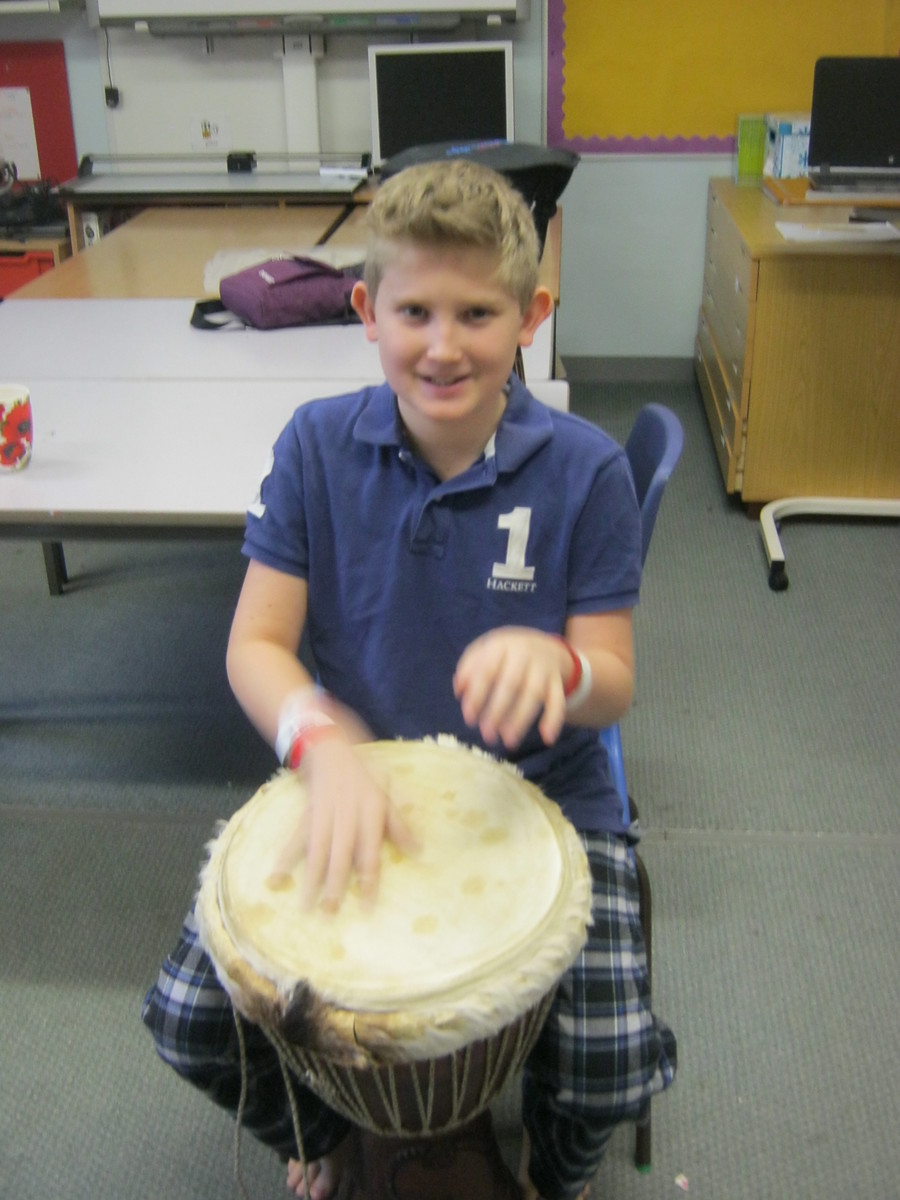 Ben enjoyed the morning with some African drumming.