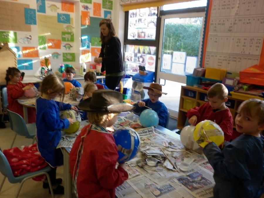 We made paper mache dinosaur eggs