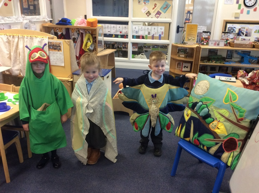 Here are some children retelling 'The very hungry caterpillar' using the fabulous props made by Grandma Judy.