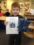 Taylor has been busy creating a blue house in line with his sisters homework.