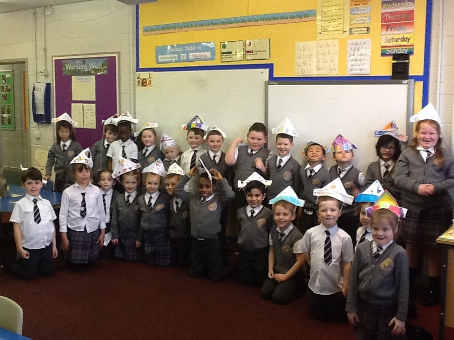 We had fun following instructions to make our own hats.