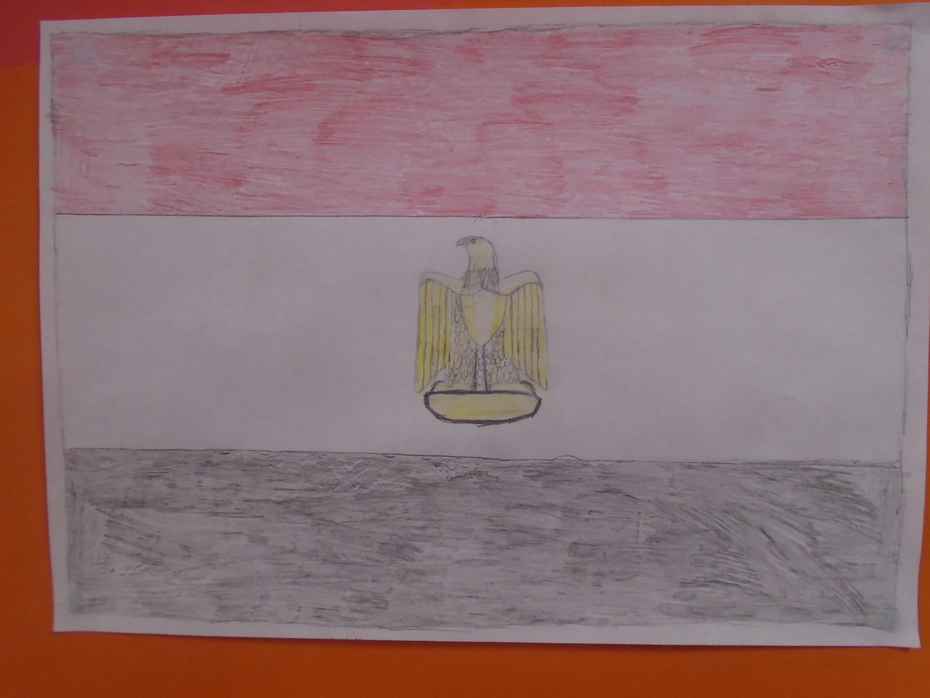 A fantastic replica drawing of the Egyptian flag.
