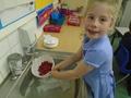 We washed sweet raspberries.