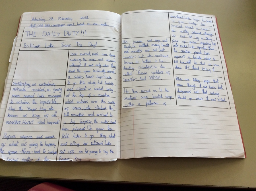 "Jack.A (5B) ""I am proud of this because of my handwriting!"""