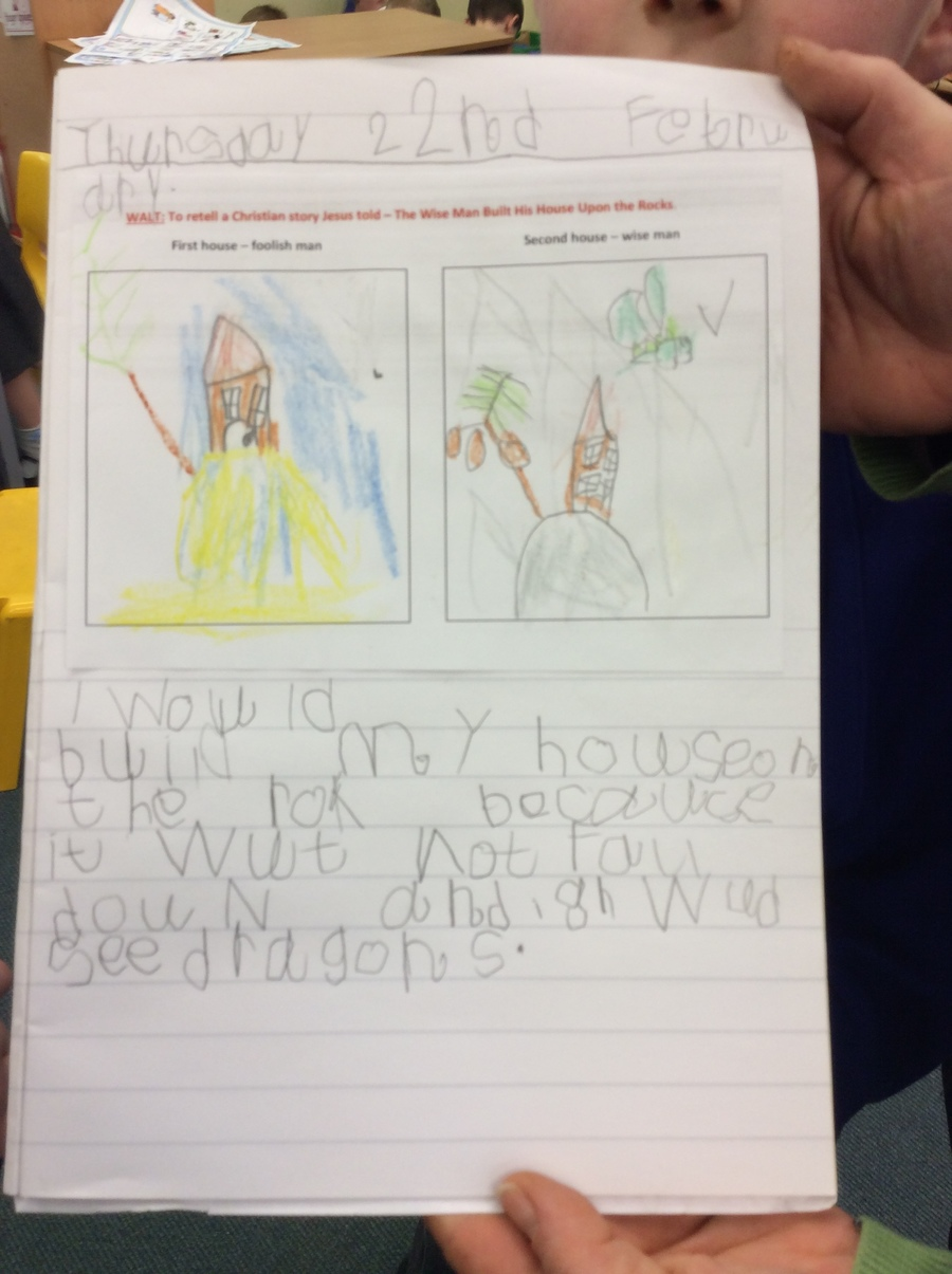 "Alan.M (Parrots) ""I am proud of this work becuase of my neat colouring and writing!"""
