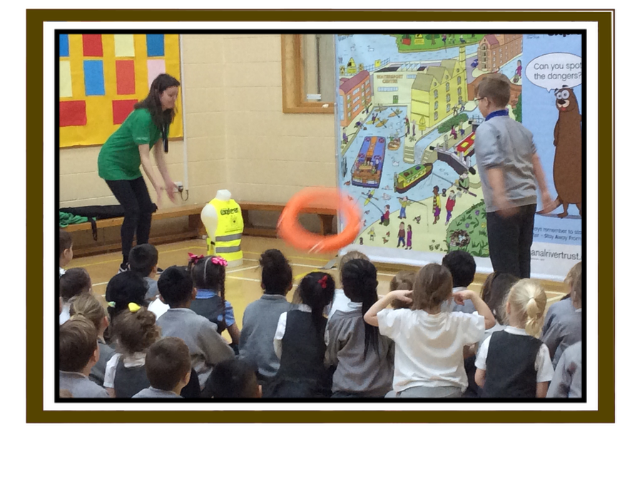 Katie from the Canal and River Trust delivered an important message about water safety at our assembly