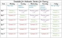 Arithmetic Starters Timetable