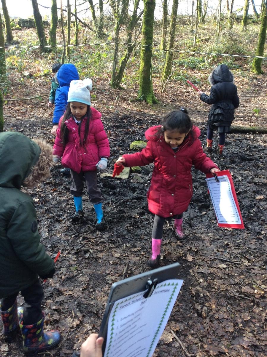 Having fun in the mud.