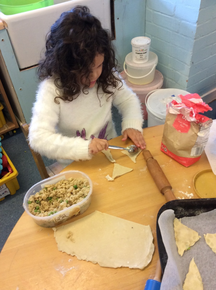 We filled the pastry with a potato and pea mixture and stirred in a few spoonfuls of mild curry powder