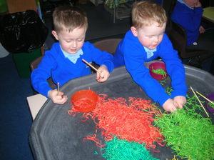 Messy spaghetti in Reception!