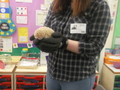 Lorna and her hedgehog paying us a visit. How amazing is that!