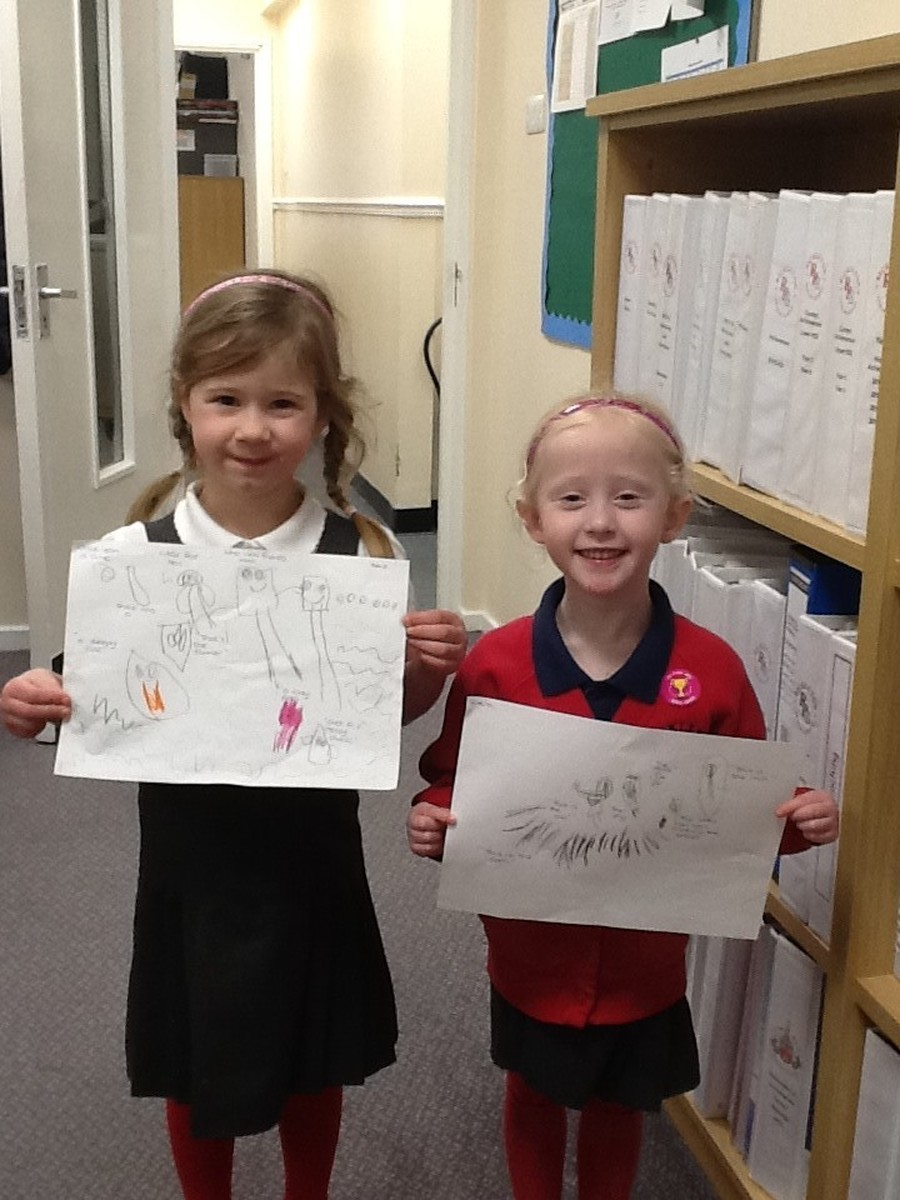 Isla and Kiera enjoyed drawing story maps to help them remember the tale of The Little Red Hen.  Well done girls!