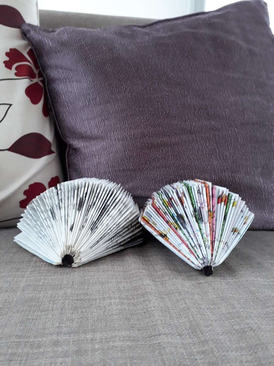 Ella made these wonderful hedgehogs using old books.  Well done Ella!