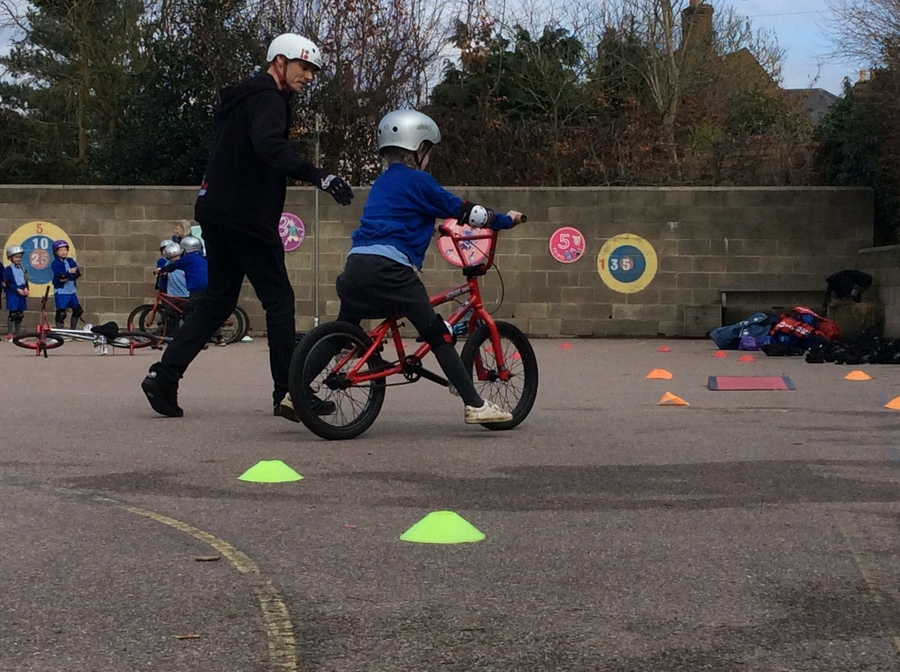 The children receiving tuition from champion Mike Mullen during our BMX Day in March 2018.