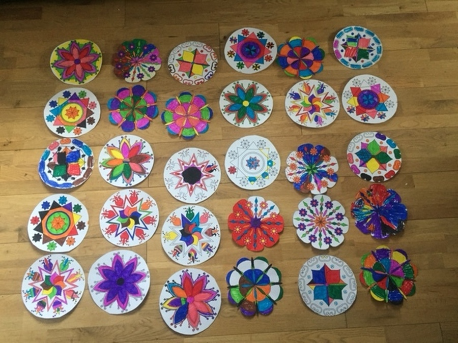These Rangoli patterns were made by Year 3 pupils as part of their study of the Sikh Diwali