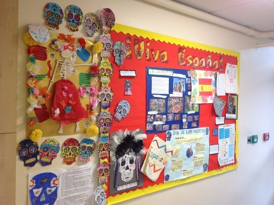 Our Spanish display, showcasing all the children's work on the Dia de Los Murtos festival
