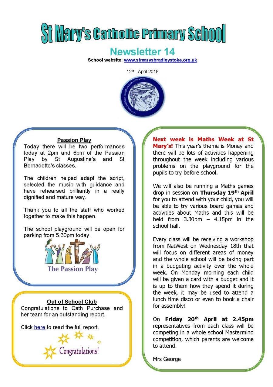 Newsletter 14 - 12.04.18