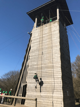 That's a long way up- Abseiling