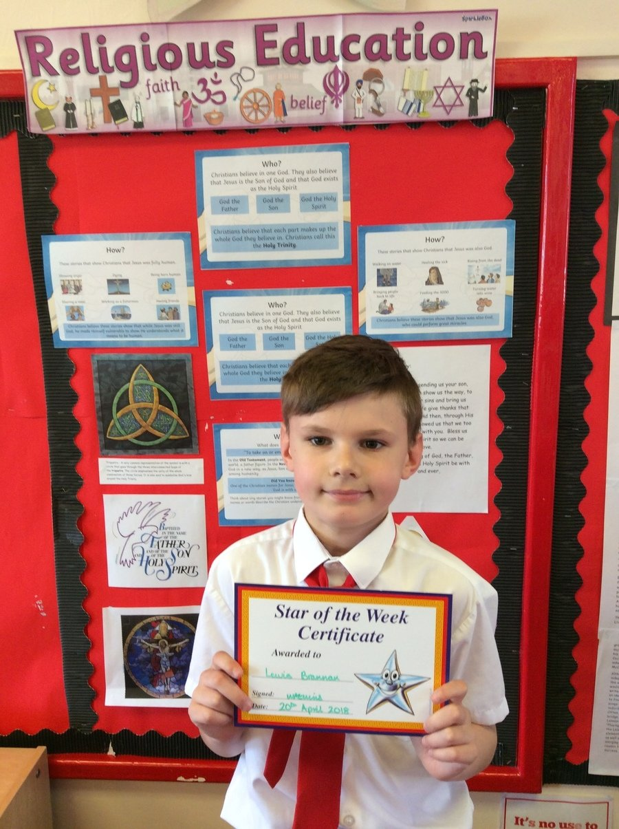 Lewis received an award for his super contributions to the class' reflection on Collective Worship.