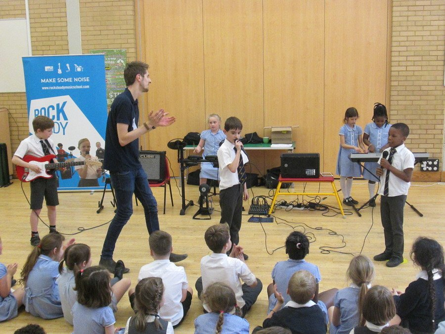 The children really enjoyed the assembly by the guys from Rocksteady and forming their own rock band!