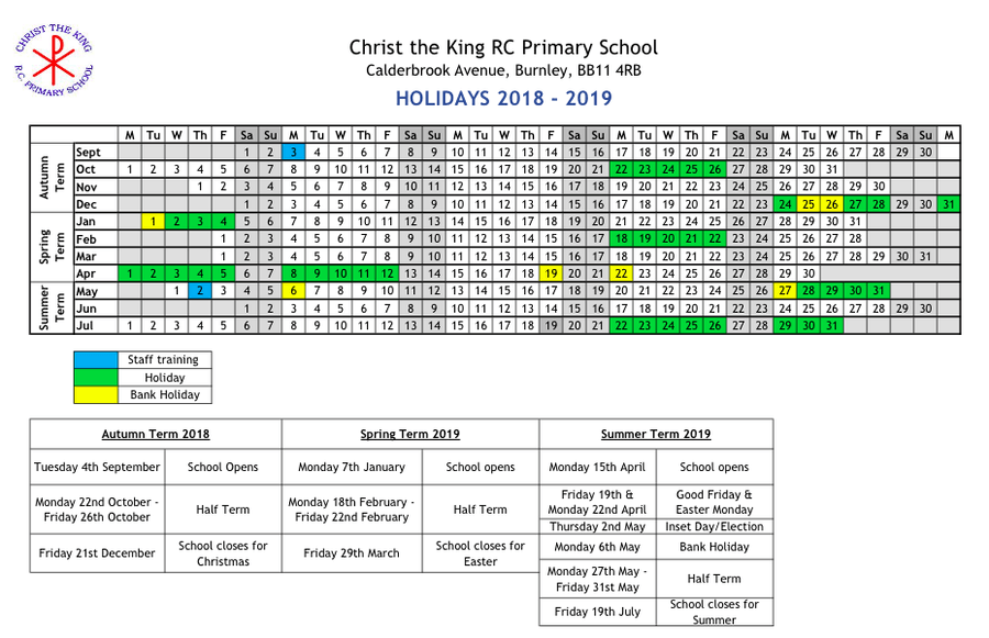 Christ the King RC Primary School - Holiday / Term Dates