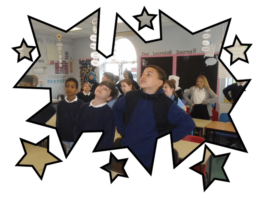 Our Year 6 children using Superhero 'Power Poses' to ready themselves for the challenge of SATs! Good luck, Year 6!