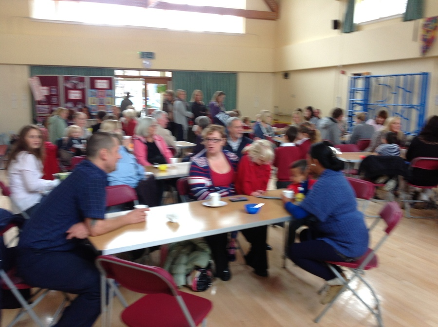 Our friends and families enjoying coffee at our very busy coffee morning