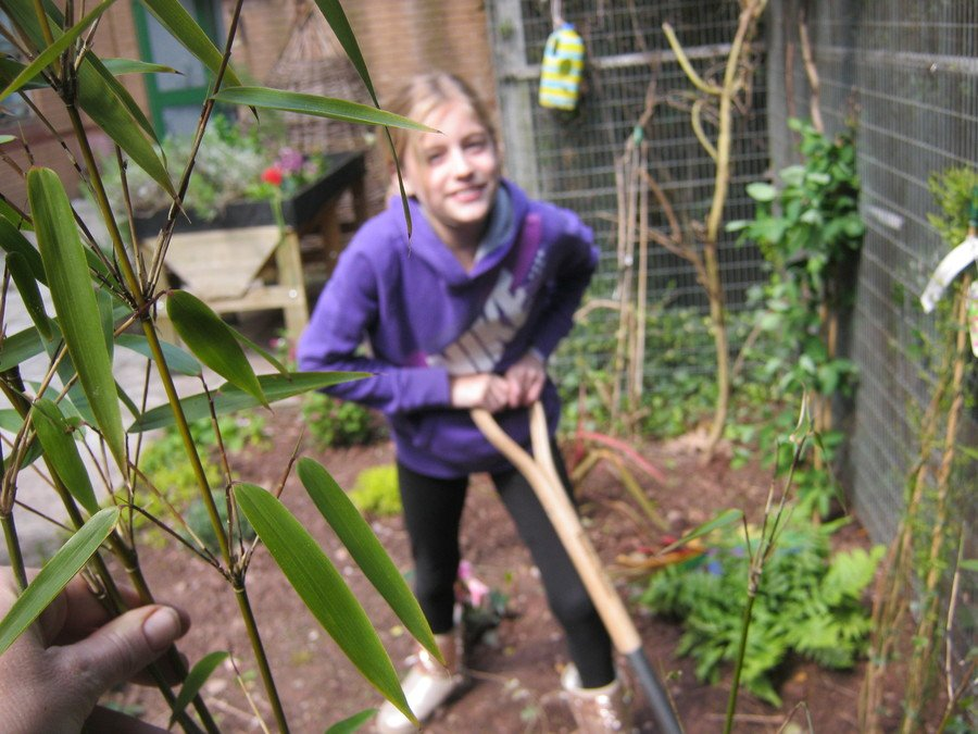 Leah getting stuck in to the gardening