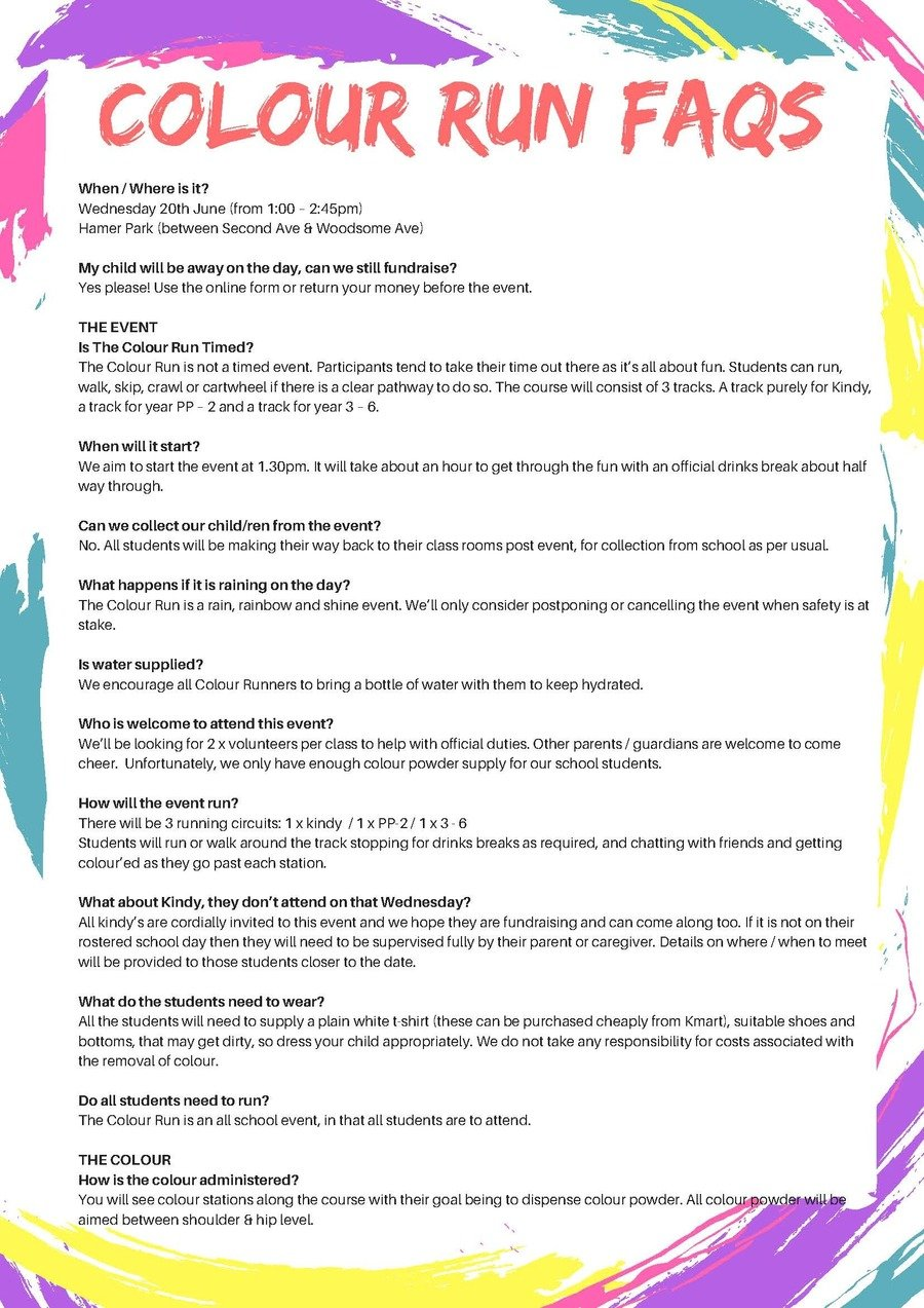 P&C Colour Run FAQs