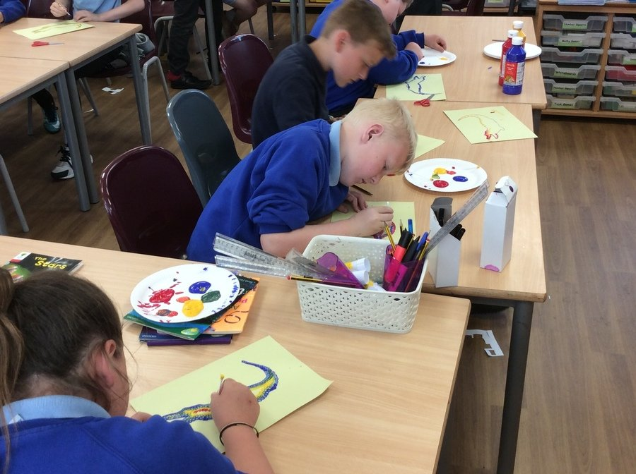 Aboriginal art work, focusing on mixing primary to secondary colours and creating dot paintings.