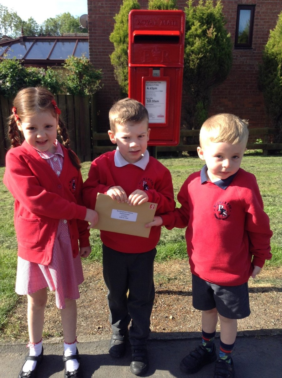 The children in Reception have written letters to the Royal family to wish them well for the wedding of Harry and Meghan.  They hope to get a reply!