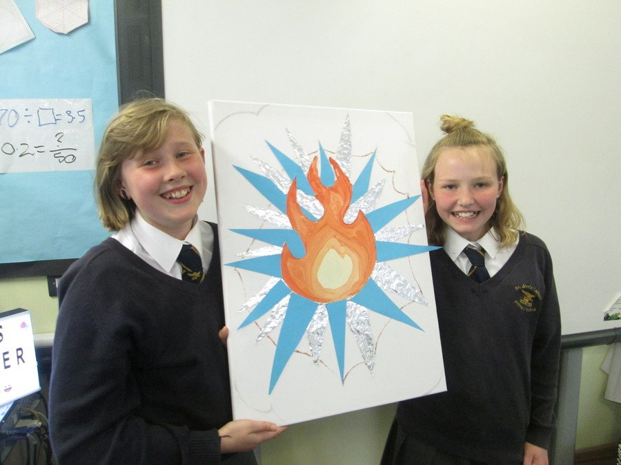 We had a brilliant 'Pop Art' Day - Chloe and Nuala with the final whole class piece.