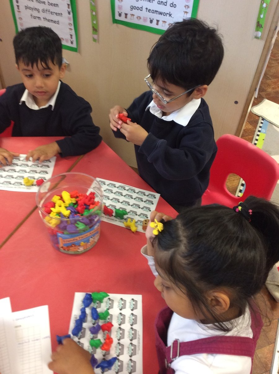 We have been sharing and taking turns in a game situation when playing a Mrs Wishy Washy themed counting game.