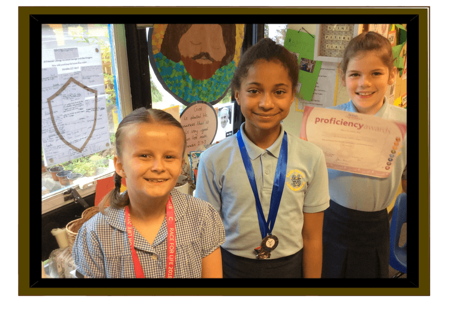 Gymnastics awards for Lila and Alexandra. Race for Life medal for Farrah plus she raised £100! Well done all three of you!