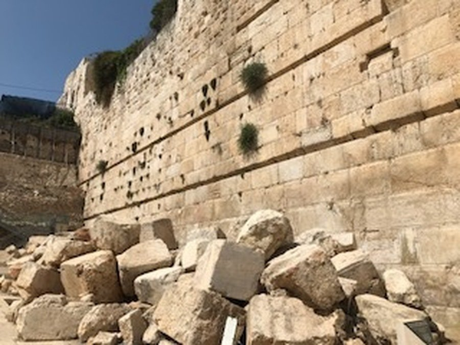 Stones hurled down by Roman Soldiers in their destruction of the temple in 70BC