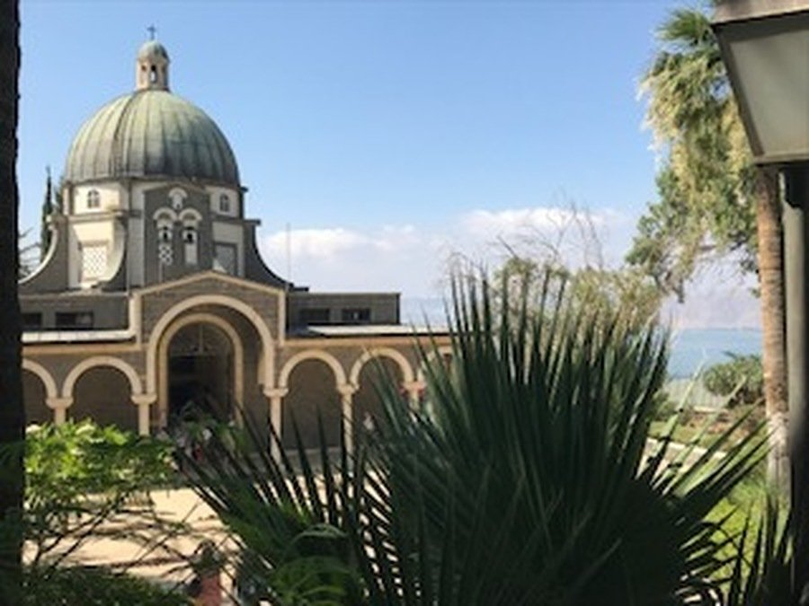 The Church of the Beatitudes overlooking the Sea of Galilee