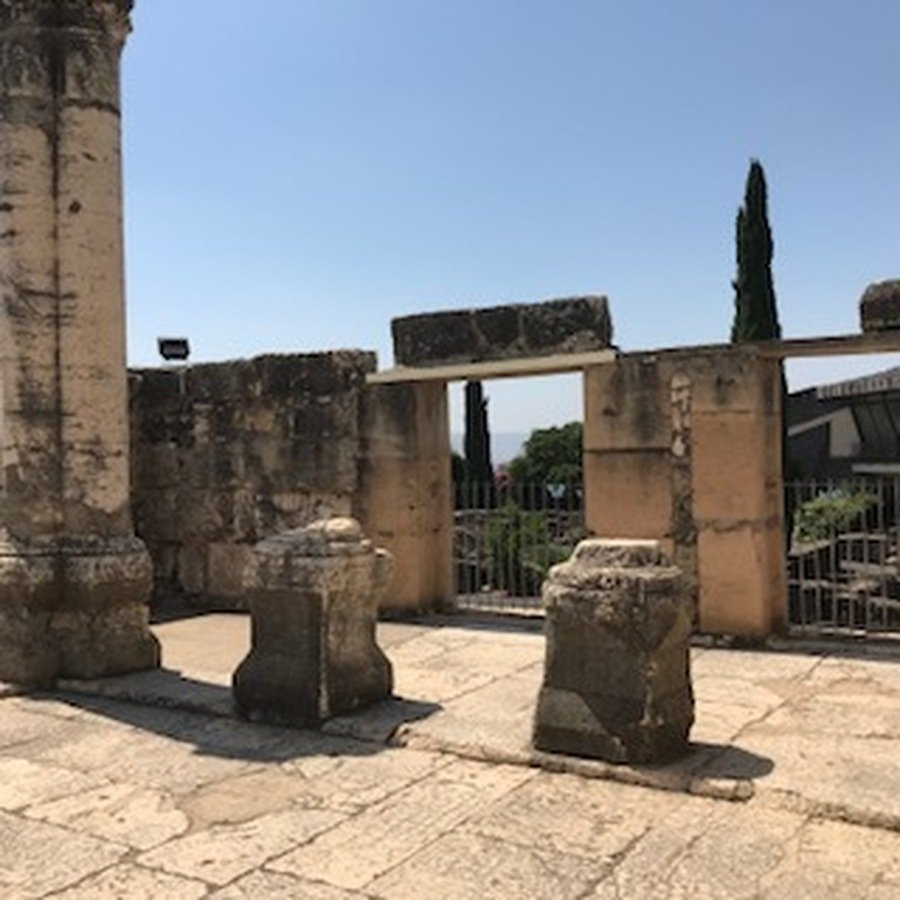 Inside the synagogue at Capernaum