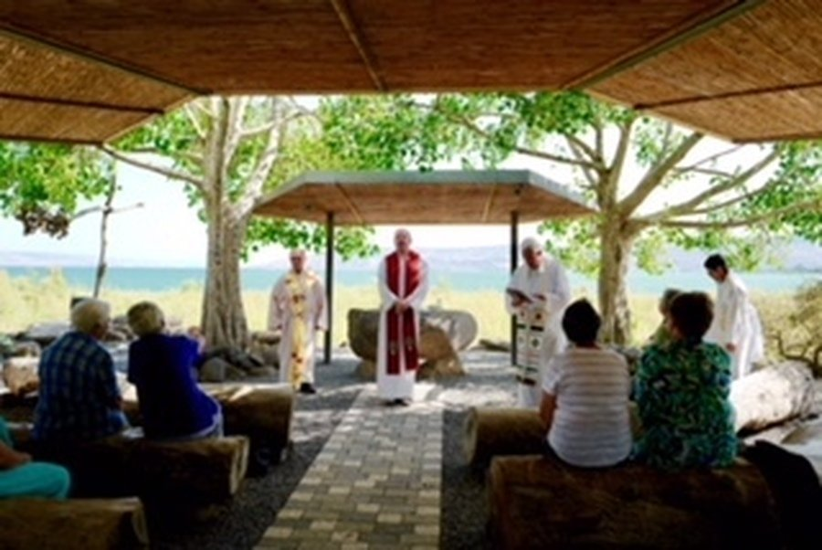 A windy Mass - not referring to the Preacher - by the shores of the Sea of Galilee