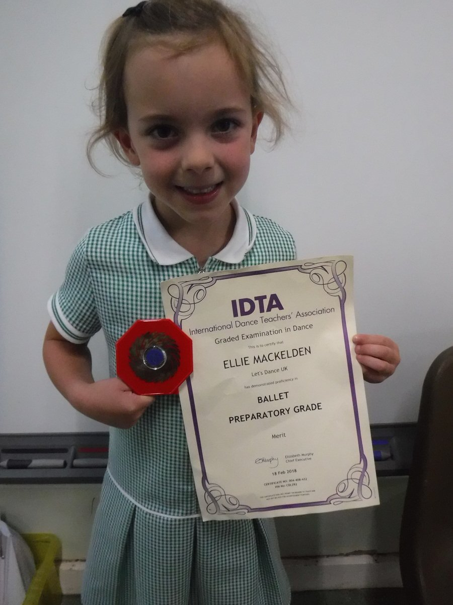 Ellie has shown us her achievements in Ballet! Well done Ellie you should be proud!