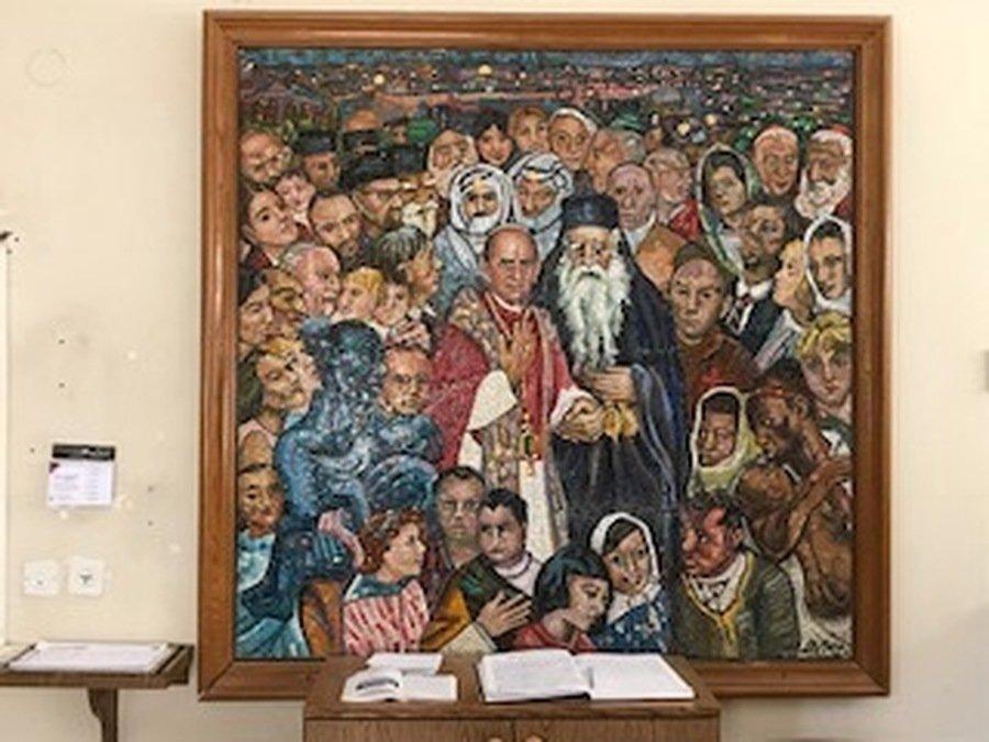 A memory of Pope Paul VI's visit, in the Sacristy at Dominus Flevit.