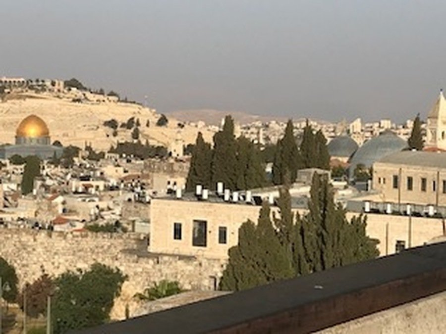 Farewell Jerusalem, let me not forget you. The domes on the right are the Holy Sepulchre Church - how close to the Dome of the Rock, the site of the second temple.