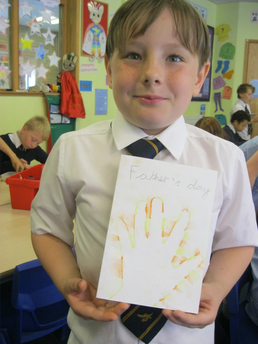 We made Father's day cards after looking at  early cave art from Argentina