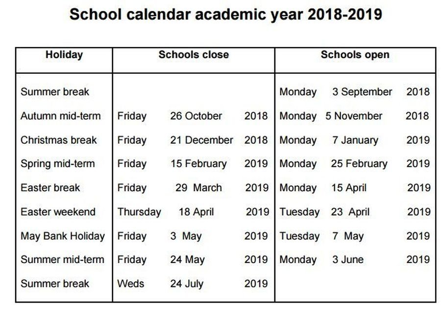 February 2019 School Calendar Holidays And Special Gildersome Primary School   Term Dates and Training Days