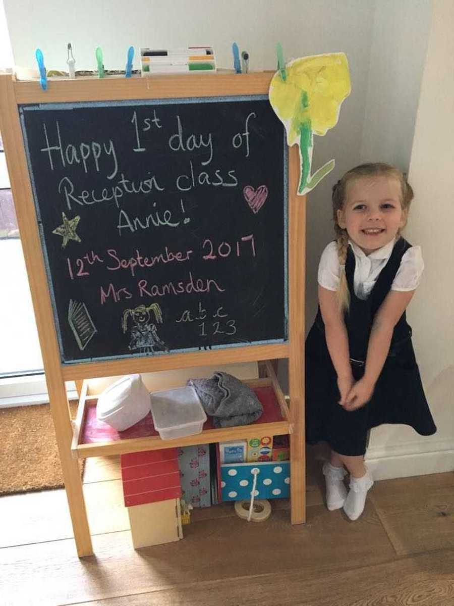 Here is a picture of Mrs Fox's daughter on her first day of reception - you may want to do something similar.