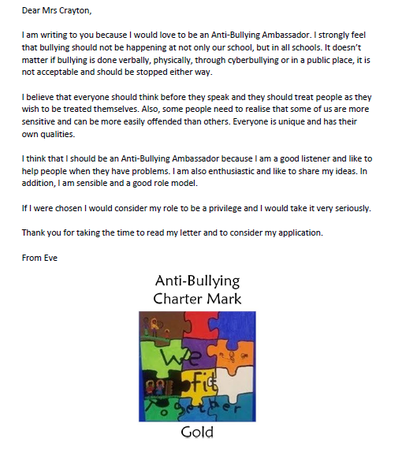 letter to school about bullying