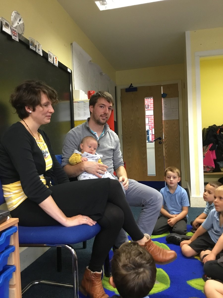 Rob, Sarah and baby Sam helped us to learn about changes and growth