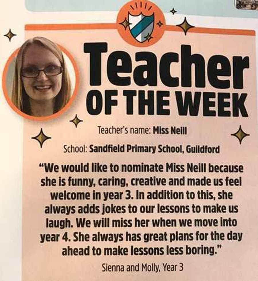 Congratulations Miss Neill!