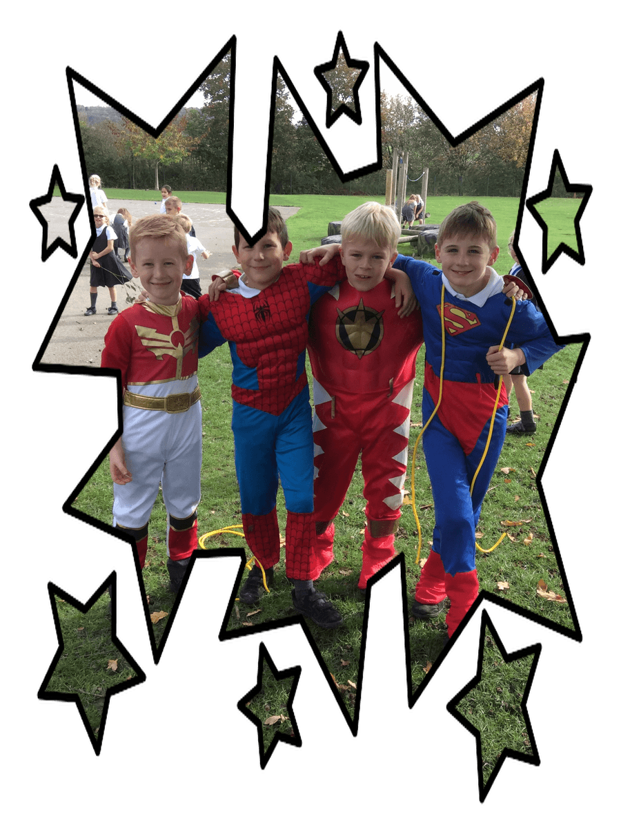 Superheros spotted at playtime!