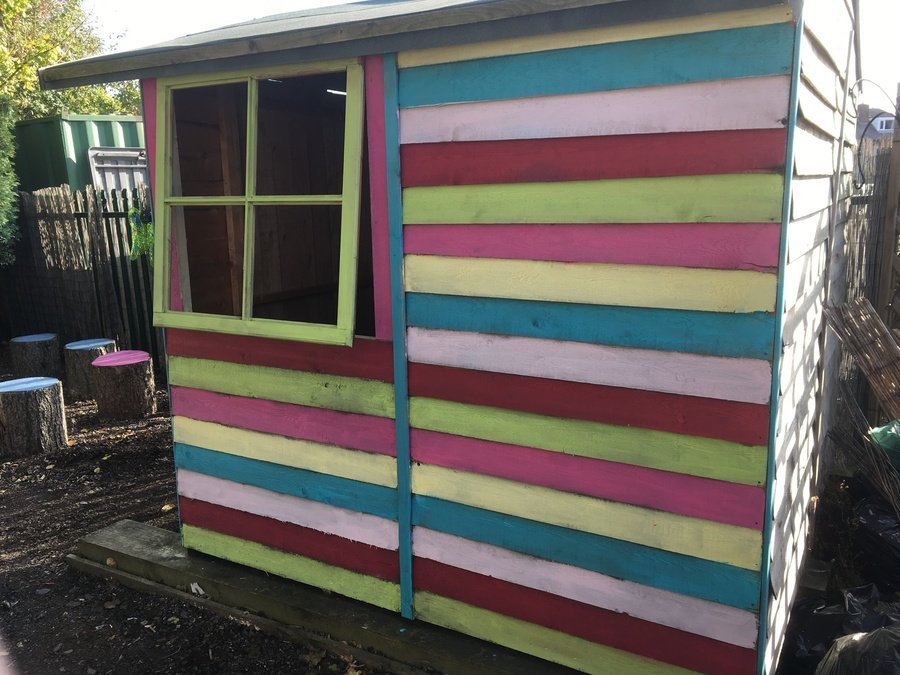 The shed donated by PIP's is looking bright.